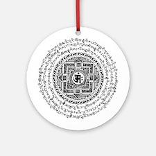 Blk Mantra Mandala Ornament (Round)