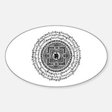 Blk Mantra Mandala Oval Decal