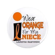 """I Wear Orange For My Niece 9 Leukemia 3.5"""" Button"""