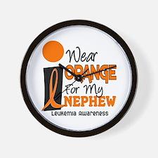 I Wear Orange For My Nephew 9 Leukemia Wall Clock