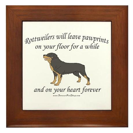 Rottweiler Pawprints Framed Tile