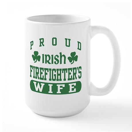 Proud Irish Firefighter's Wife Large Mug