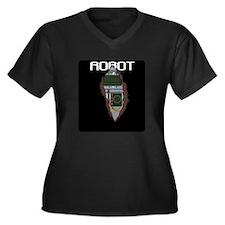 Robot Chest Women's Plus Size V-Neck Dark T-Shirt