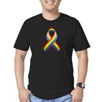Rainbow Pride Ribbon Men's Fitted T-Shirt (dark)