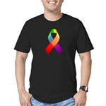 Rainbow Pride II Ribbon Men's Fitted T-Shirt (dark
