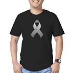 Gray Awareness Ribbon Men's Fitted T-Shirt (dark)