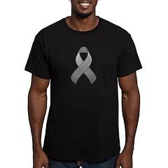 Gray Awareness Ribbon Men's Fitted T-Shirt (dark)