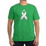 White Awareness Ribbon Men's Fitted T-Shirt (dark)