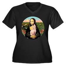Sphynx Cat & Mona Lisa Women's Plus Size V-Neck Da