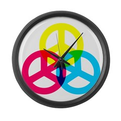Glowing Colorful Peace signs Large Wall Clock