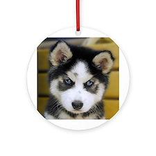 Husky Pup Ornament (Round)