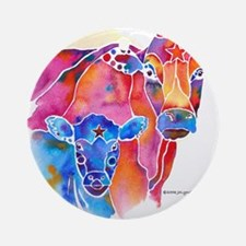 Cow and Calf Vivid Colors Round Ornament