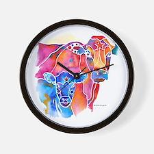 Cow and Calf Vivid Colors Wall Clock