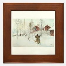 Winter Farm House Framed Tile