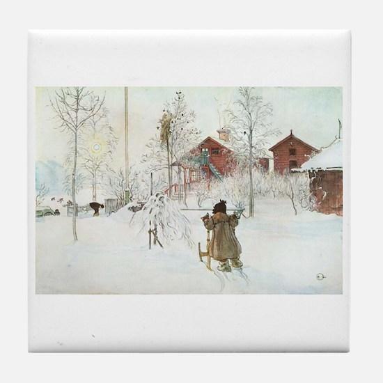 Winter Farm House Tile Coaster