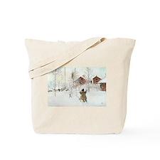 Winter Farm House Tote Bag