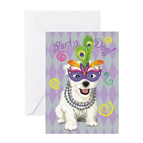Party Westie Greeting Card
