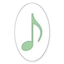 Green Eighth Note Oval Decal