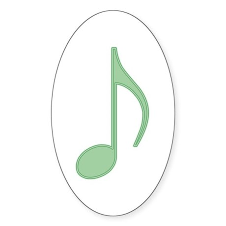 Green Eighth Note Oval Sticker