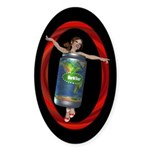 Beer Can Girl Oval Sticker