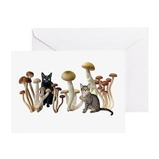 Mushroom Cats Greeting Card