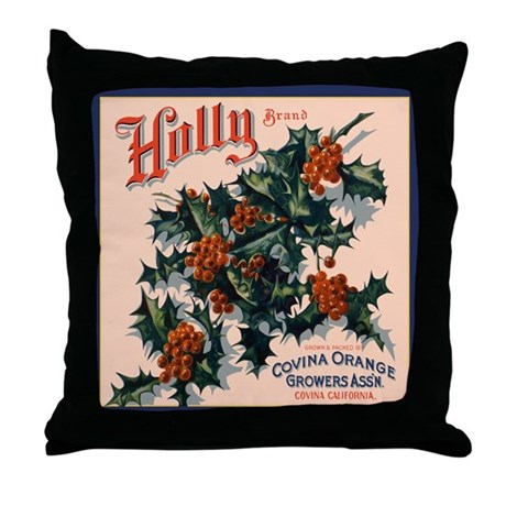 Holly Orange Crate Label Throw Pillow