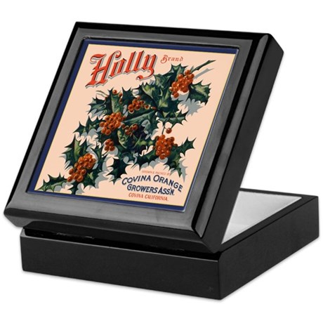 Holly Orange Crate Label Keepsake Box