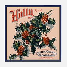 Holly Orange Crate Label Tile Coaster