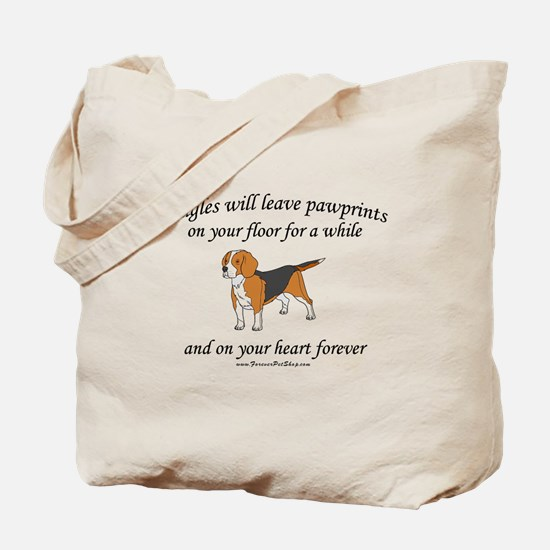 Beagle Pawprints Tote Bag