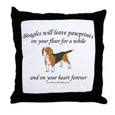 Beagle Pawprints Throw Pillow