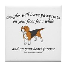 Beagle Pawprints Tile Coaster