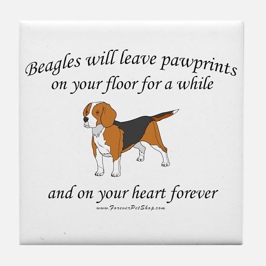 Beagle Pawprints Tile Coaster
