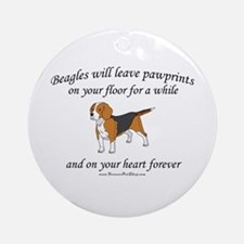 Beagle Pawprints Ornament (Round)