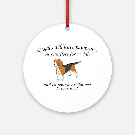 Beagle Pawprints Ornament (Round)