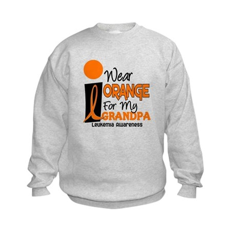 I Wear Orange For My Grandpa 9 LEUK Kids Sweatshir