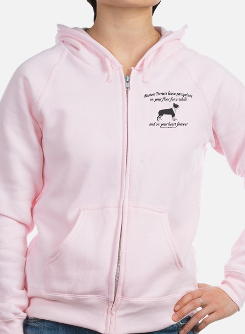Boston Terrier Pawprints Zip Hoodie