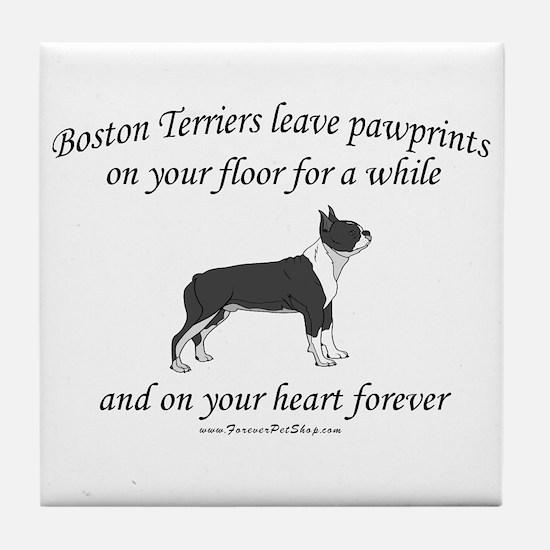 Boston Terrier Pawprints Tile Coaster