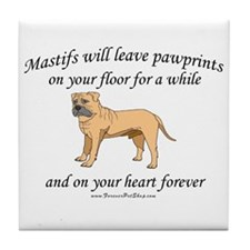 Mastif Pawprints Tile Coaster