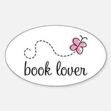 Cute Book Lover Oval Decal