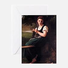 The Knitting Woman Greeting Card
