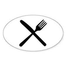 cutlery - knife and fork Oval Decal