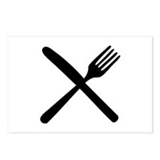 cutlery - knife and fork Postcards (Package of 8)
