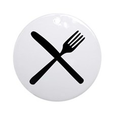 cutlery - knife and fork Ornament (Round)