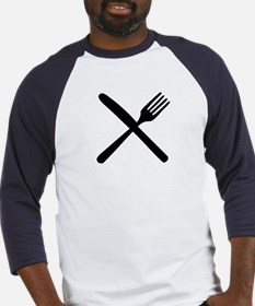 cutlery - knife and fork Baseball Jersey
