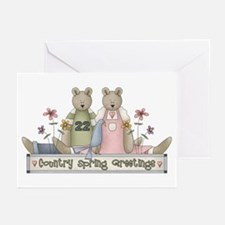 Spring Country Bears Greeting Cards (Pk of 10)
