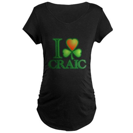 I Love Craic Maternity Dark T-Shirt