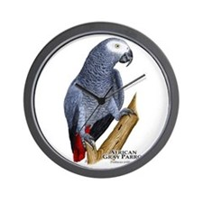 African Gray Parrot Wall Clock