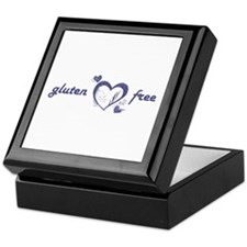 gluten free - hearts, denim Keepsake Box