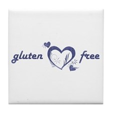 gluten free - hearts, denim Tile Coaster