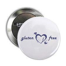 """gluten free - hearts, denim 2.25"""" Button"""